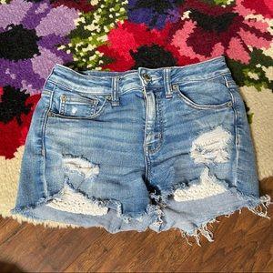 American Eagle Distress Lace Pocket Hi Rise Shorts